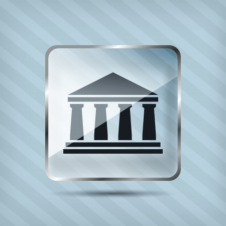 glass bank icon on a striped background Vector