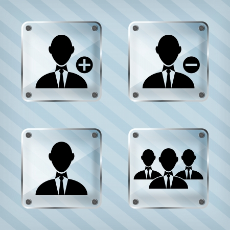 glass set icon of businessman on a striped background Vector