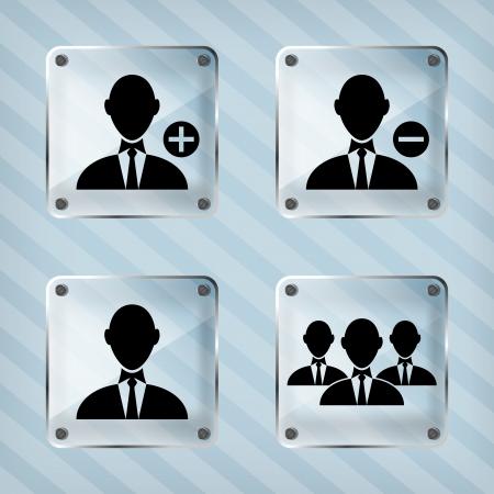 addendum: glass set icon of businessman on a striped background