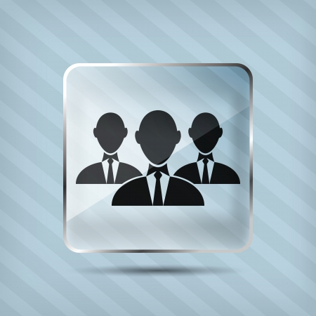 glass group of businessman icon on a striped background Vector