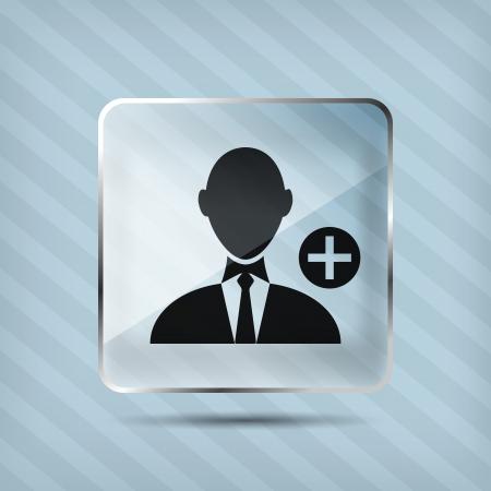 addendum: glass add businessman icon on a striped background