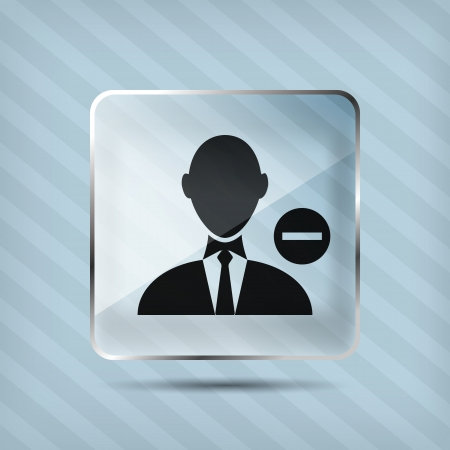 glass remove businessman icon on a striped background