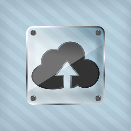 transparency button  with cloud icon and arrow on a striped background Vector