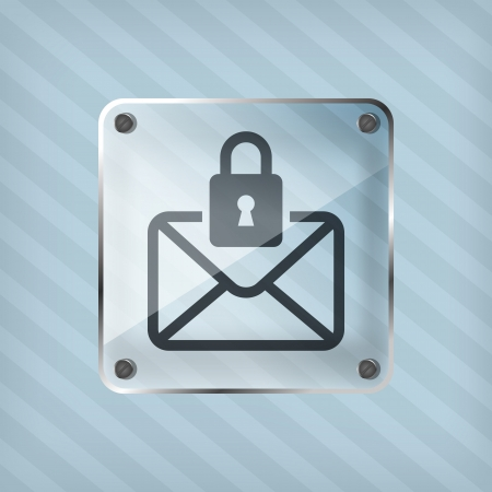 transparency icon with message and padlock on a striped background  Vector