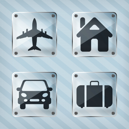 set of transparency travel pointer icons on a striped background  Vector