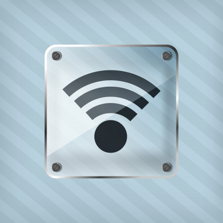 wifi icon on a striped background  Vector