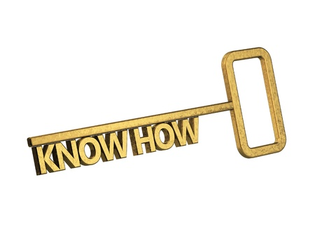 golden key with word know how on a white background Stock Photo - 18861687