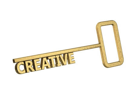 golden key with word creative on a white background Stock Photo - 18861591