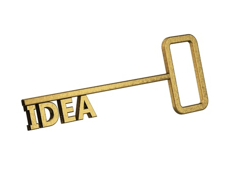 golden key with word idea on a white background Stock Photo - 18861581