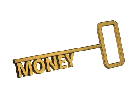 golden key with word money on a white background Stock Photo - 18861603