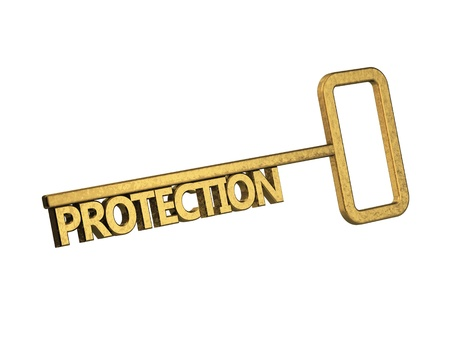 golden key with word protection on a white background Stock Photo - 18861686