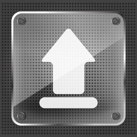 exclude: glass upload icon on a metallic background Illustration