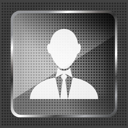 glass businessman icon on a metallic background  Vector