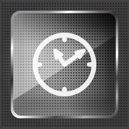 watch glass: glass shiny watch icon on a metallic background Illustration