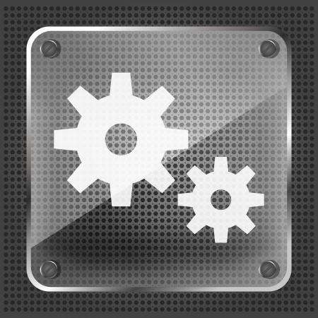 glass icon with gear on metallic background  Stock Vector - 19619458