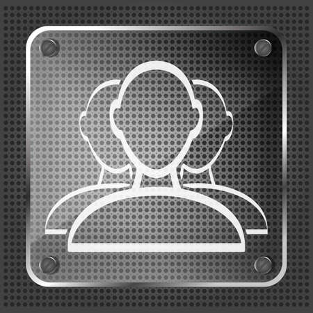 glass user group web icon on a metallic background  Vector