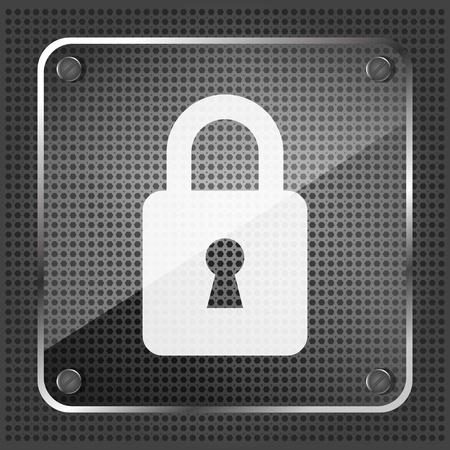 glass padlock icon on a metallic background  Vector