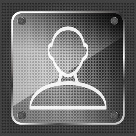 glass person icon on a metallic background  Vector