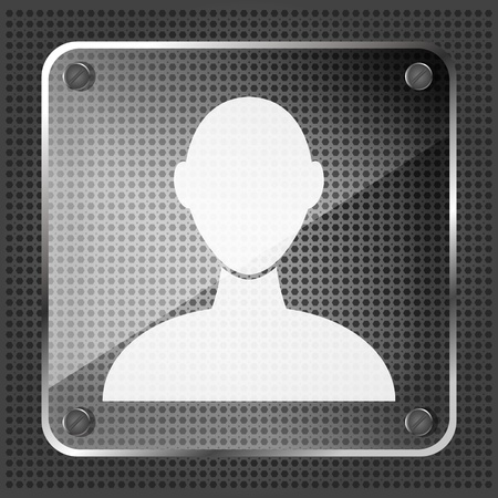 glass user icon on a metallic background  Vector