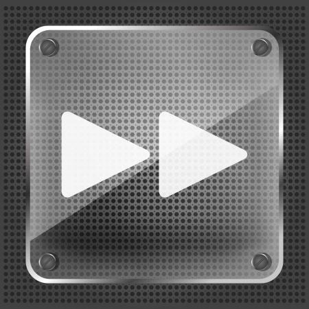 forward icon: glass forward icon on the metallic background