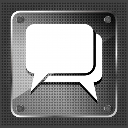 chat room: glass dialog icon on a white background
