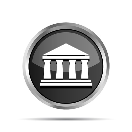 college building: black bank icon on a white background