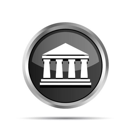 columnas romanas: icono negro del banco sobre un fondo blanco