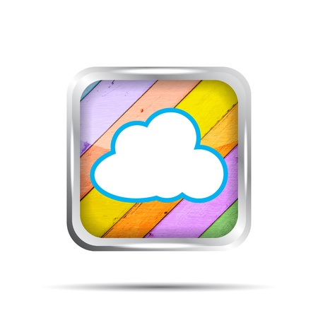 wooden icon with cloud on a white background Vector