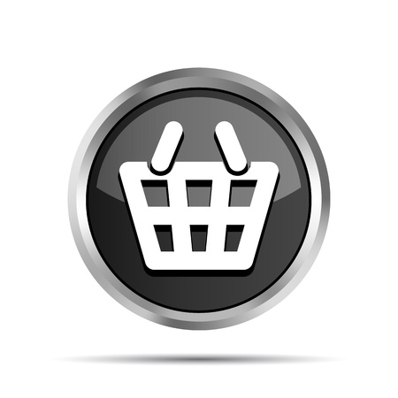 Black shopping basket icon on a white background Stock Vector - 19617821
