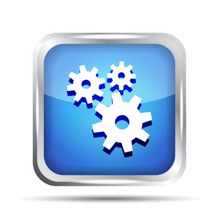 blue icon with gears on a white background