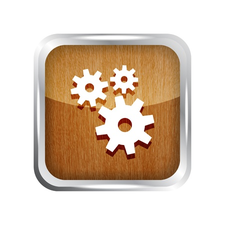 wooden icon with gears on a white background Stock Vector - 19619685