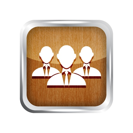 wooden group of businessman icon on a white background Vector