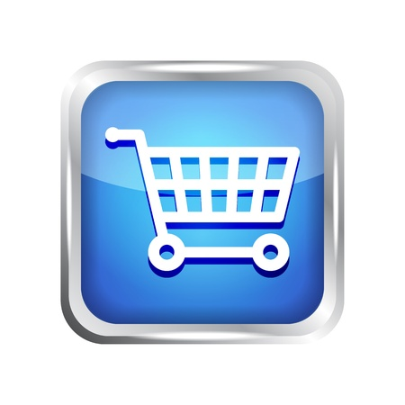 blue shopping cart icon on a white background Vector