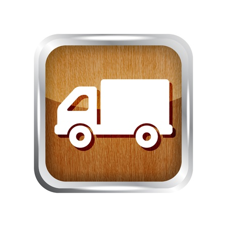 hauling: wooden truck icon button on a white background