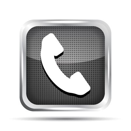 cabina telefonica: met�lico icono de bot�n de tel�fono en un fondo blanco