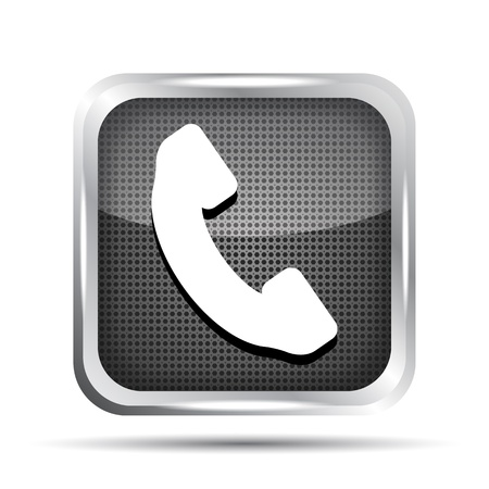 telephone booth: metallic phone button icon on a white background