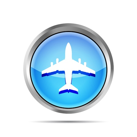 blue airplane icon on a white background Vector