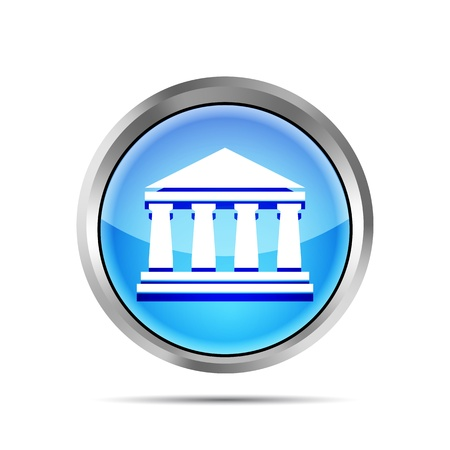 financial position: blue bank icon on a white background Illustration