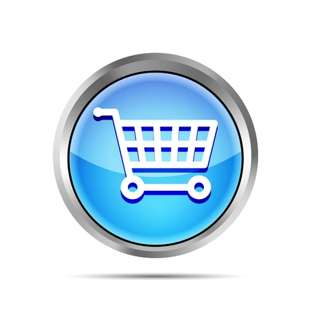 blue shopping cart icon on a white background Stock Vector - 19619328