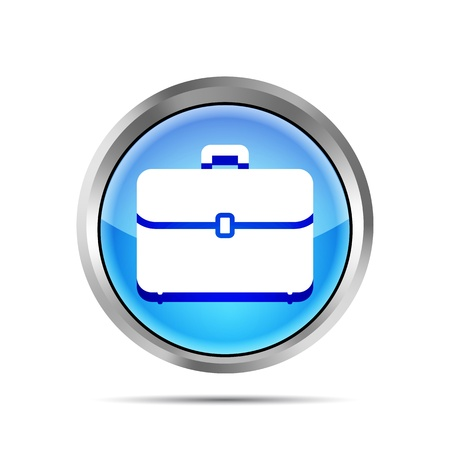 blue briefcase icon on a white background Vector