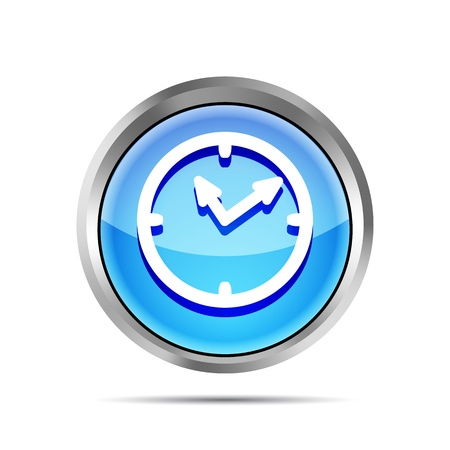 time account: blue shiny watch icon on a white background Illustration