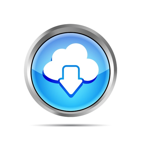 blue download from cloud icon on a white background Vector