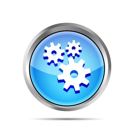 blue metallic icon with gears on white background Vector