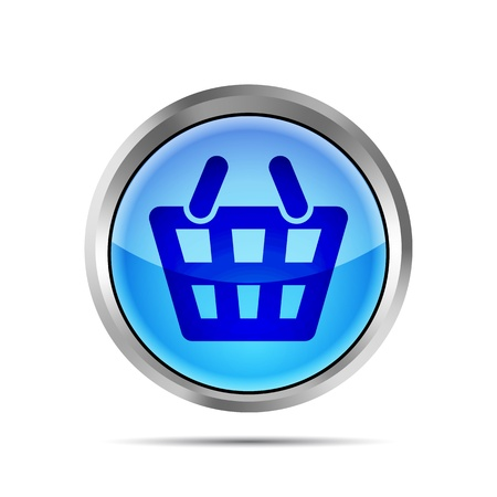 Blue shopping basket icon on a white background Stock Vector - 19619367