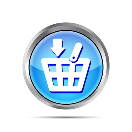 Blue shopping basket icon on a white background Vector