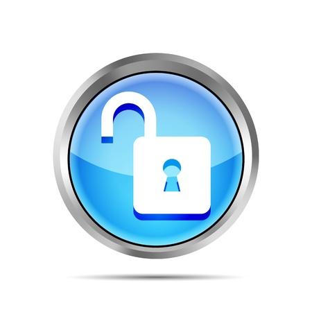blauw open hangslot pictogram op een witte achtergrond