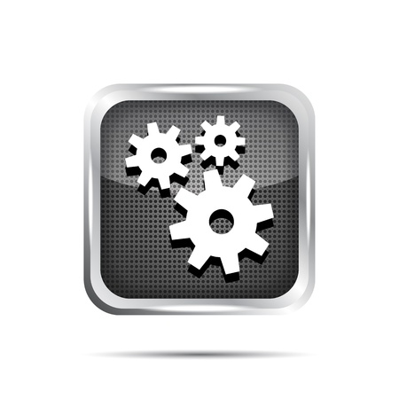 metallic icon with gears on white background Stock Vector - 19619618