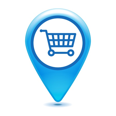blue shopping cart pointer on a white background Vector