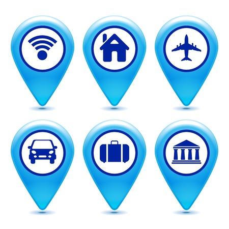 marcador: conjunto de iconos de puntero sobre un fondo blanco