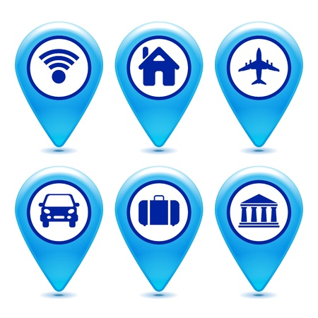 location: set of pointer icons on a white background  Illustration